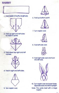 TABLE DECORating/ Napkin Folding 101 - 6 Designs, As the Great White Rabbit will soon be making his appearance and Spring n Summer are aroun. TABLE DECORating/ Napkin Folding 101 - 6 Designs, As the Great White Rabbit will soon be making Bunny Napkin Fold, Paper Napkin Folding, Folding Napkins, Folding Tables, Napkin Origami, Origami Easy, Linen Napkins, Easter Brunch, Easter Party