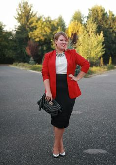 Everything about this outfit is on fleek. Need it for work asap.  Plus Size Life: OUTFIT - Poppy red