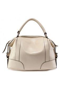 Leather Shoulder Bag Cream