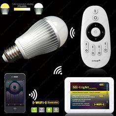 AC85-265V 2.4G Mi.light E27 9W Color Temperature Adjustable Dual White(CW/WW) CCT LED Bulb +4-Zone RF Wireless Remote + WiFi