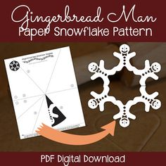 Gingerbread Man paper snowflake pattern - Printable snowflake template. Download PDF, print, fold, cut & enjoy!   #printable #snowflake #papersnowflake #snowflakepattern #snowflaketemplate #25daysofsnowflakes