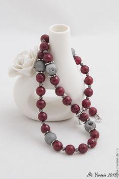 """Купить """"Марсала"""" бусы из натуральных камней, бусы из агата - бордовый, красный, марсала, бусы из агата"""