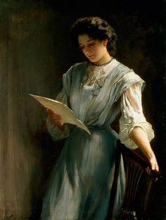 Reading the letter. De Thomas Benjamin Kennington (1856-1916).