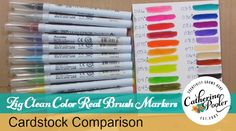 Zig Clean Color Real Brush Markers and Cardstock Comparison – Catherine Pooler