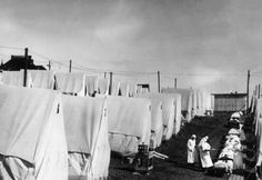 "Nurses in Lawrence, MA care for flu victims during 1918 epidemic. The thought was that tents would provide a ""fresh air cure""."