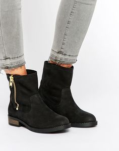 Selected | Selected Femme Leva Black Leather Ankle Boots at ASOS