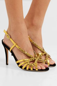 96ae74812a47 Gucci - Zephyra crystal-embellished metallic leather sandals