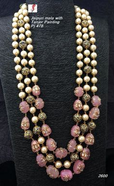 Designer Mala Available at Ankh Jewels for booking msg on Gold Earrings Designs, Gold Jewellery Design, Bead Jewellery, India Jewelry, Necklace Designs, Beaded Jewelry, Jewelery, Boho Jewelry, Jewelry Shop