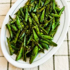 Kalyn's Kitchen®: Recipe for Spicy Stir-Fried Sugar Snap Peas with Soy Sauce, Sesame Oil, and Sriracha  [#SouthBeachDiet friendly #Recipe from Kalyn's Kitchen]