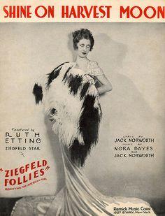 """Shine On Harvest Moon"" Ziegfeld Follies sheet music  Ruth Etting cover, (1931)"