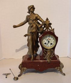Antique French Gold Gilt Bronze Marble Clock Figural Harvest Woman Flowers by Calessabay on Etsy Art Nouveau, Art Deco, Mantel Clocks, Antique Watches, Iron Decor, Home Decor Items, Wood Art, French Antiques, Decorative Boxes