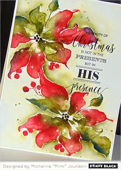 Photo Tutorial: Watercoloring with Mimi Watercolor Christmas Cards, Christmas Card Crafts, Watercolor Cards, Xmas Cards, Christmas Art, Holiday Cards, Watercolor Flowers, Penny Black Cards, Penny Black Stamps
