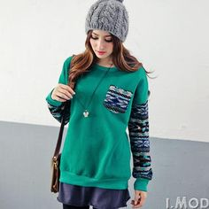 OrangeBear - Brushed-Fleece Lined Knit-Panel Pullover