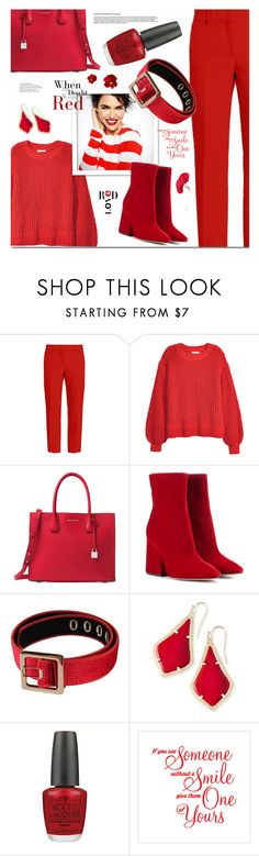 """""""Monochrome: Favourite Colour"""" by ames-ym ❤ liked on Polyvore featuring MSGM, H&M, Michael Kors, Maison Margiela, Kendra Scott, OPI, Tiffany & Co., monochrome and red"""