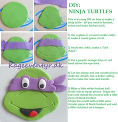 DIY Ninja Turtles - This is an easy way to make ninja turtle decorations for cupcakes and cakes.