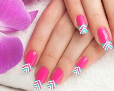 Pink Tribal Nail Art Design