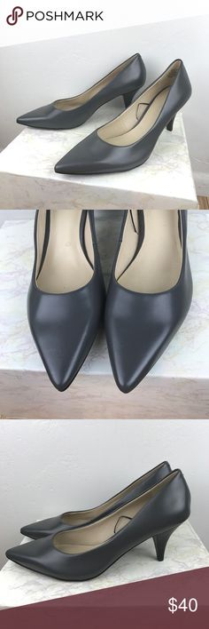 Like New Nine West classic gray pointy toe heels Worn once. comfortable Cushy insole for support. 3 inches high heel. Classic timeless design perfect for the office. Size is 9 M width 3 1/4 inches. It has minor scratches on the insole which will not be visible once you wear them. Nine West Shoes Heels