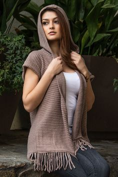 Taupe knit fringe hooded vest ... SNEAK PEEK, available Fri. on the Dakota Jackson Boutique FB pg. LIKE us on FB. www.facebook.com/DakotaJacksonBoutique