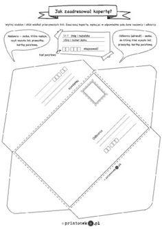 Jak zaadresować kopertę? - Printoteka.pl Community Helpers Preschool, Homework Station, Preschool Worksheets, Activities For Kids, Homeschool, Parenting, Classroom, Writing, Education