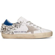 Golden Goose White Diamond Superstar Sneakers (94.290 RUB) ❤ liked on Polyvore featuring shoes, sneakers, white, white lace up shoes, low top, cut-out sneakers, perforated sneakers and golden goose sneakers