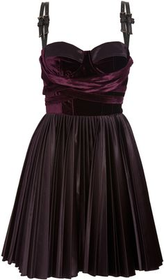 Versus Purple Velvet Dress with Leather Straps