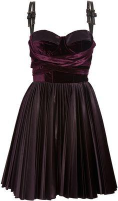 Versus Purple Velvet Dress with Leather Straps