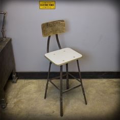 Vintage Industrial Angle Iron Frame Adjustable Height Shop Stool Tall Chair