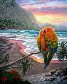 This is a REALLY talented artist.  The colors make me smile. . . . . . . .Parrots and seascape print of my Original by GalleryDiModa