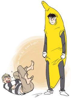 What is going on... John laughing at Sherlock in a banana suit. Fan art
