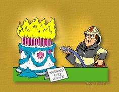 Happy Birthday Cake On Fire