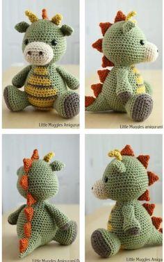Easy Crochet Animals, Crochet Baby Toys, Cute Crochet, Crochet Crafts, Crochet Geek, Crochet Projects, Crochet Dinosaur Pattern Free, Crochet Dragon Pattern, Crochet Amigurumi Free Patterns