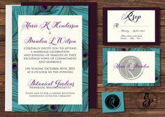 Peacock Wedding Invitations, Rustic Wedding Invitation Printable, Modern Wedding Invitation, Digital File