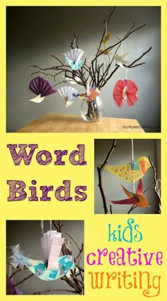 Creative writing ideas :: word birds.   This is a wonderful combination of art and storytelling that classes of all ages can use.