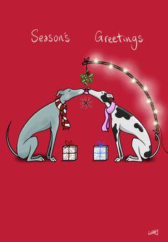 Hounds Under the Mistletoe. A Christmas card I designed.