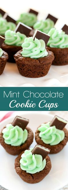 Mint Chocolate Cookie Cups Chocolate cookie cups filled with an easy mint frosting and topped with an andes mint. These Mint Chocolate Cookie Cups are a perfect treat for St. Patrick's Day or mint chocolate lovers! Cupcake Recipes, Baking Recipes, Cookie Recipes, Cupcake Cakes, Dessert Recipes, Brownie Recipes, Mint Desserts, Easy Desserts, Delicious Desserts