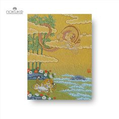 The art piece illustrates adorable tiger cubs playing together on the shore between flowers and bamboos. Meanwhile, they're being observed by a dragon high up in the sky among the clouds. All art prints are originally and carefully crafted from acrylic gouache and Japanese painting pigment and contain the artist's signature. The art print is printed on Fine Art Freja paper 265 g to provide the best quality and to emphasise the colours. Tiger Cubs, Japanese Painting, Gouache, All Art, Art Pieces, Dragon, Clouds, Sky, Fine Art