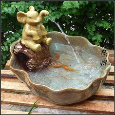 Elephant Fountain | Ceramic elephant fountain water tank opening gifts home decoration ...