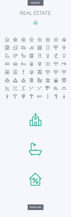 Real Estate icon set by Dmitriy Miroliubov, via Behance #realestatebusiness