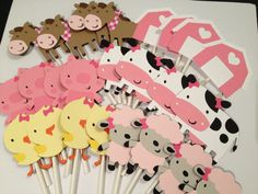 24 Girl Barnyard or Farm Themed Cupcake Toppers by MKScrapAndParty