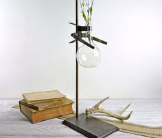 Industrial Laboratory Stand, as a home decor accent for flowers, candles and photo's.