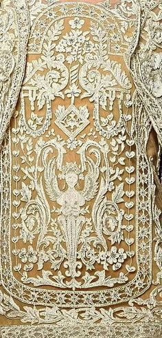 Antique French Lace in Cream over Gold Needle Lace, Bobbin Lace, Antique Lace, Vintage Lace, Fabric Art, Lace Fabric, Art Du Fil, Design Textile, Crochet Stitches