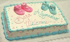 baby shower cake for twins. pink and blue for a boy and girl