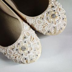 57abb34b6a13 Shimmer Lace Bridal Ballet Flats Wedding Shoes by BeholdenBridal Lace Flats