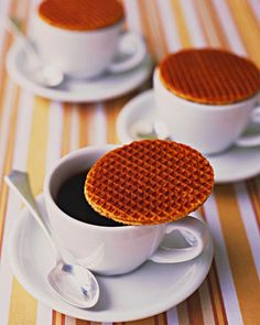 Cover your guests' mugs with caramel wafers for warm coffee and added sweetness