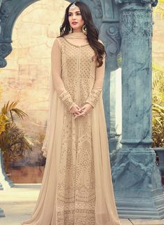 4b73ffc6a Look incredibly gorgeous in this beige georgette #Anarkalisuit! Abaya  Fashion, Dubai Fashion,