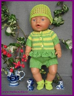 Gebreide en overalls jurk Baby Born van dik draad