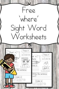 """""""Where"""" Sight Word Worksheet Here is a """"Where sight word worksheet"""" download. You can have a larger sight word packet that contains all of the dolch sight words."""