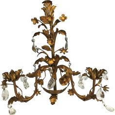 Wonderful Gilt French Metal Tole Candle Sconce with Crystal Prisms.   Aged to a glorious patina that will fit in perfect with your old world decor.