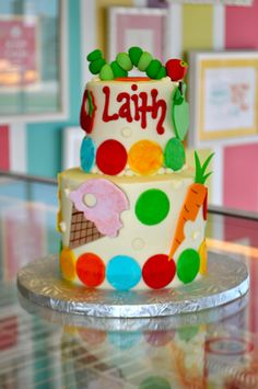 Very Hungry Caterpillar Baby Shower Cake www.LeahsSweetTreats.com