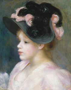 Jeune fille au chapeau rose et noir, par Auguste Renoir